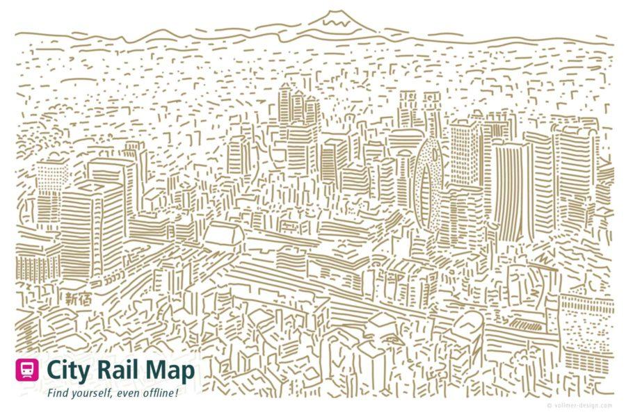 City Rail Map Shinjuku Tokyo Illustation
