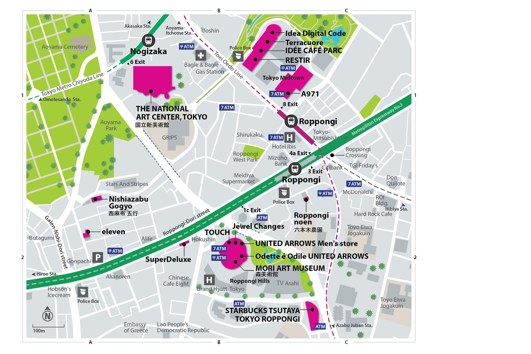VISA Style Guide Roppongi Map