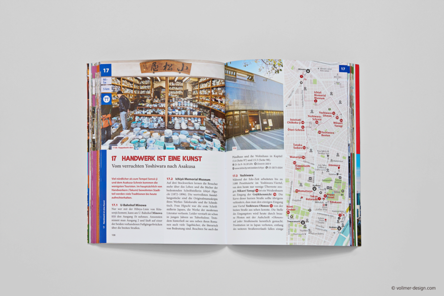 Labyrinth Tokio travel guide book inside with area map of Asakusa