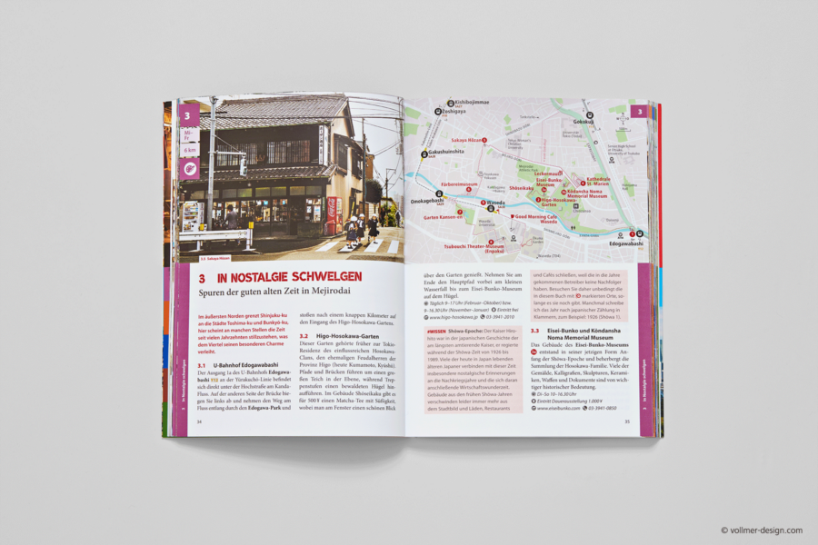 Labyrinth Tokio travel guide book inside with area map of Mejirodai
